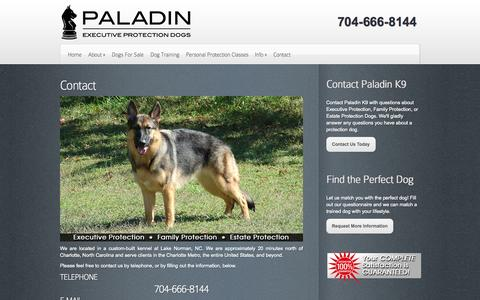 Screenshot of Contact Page paladink9.com - Contact | Protection Dogs by Paladin K9 - captured Oct. 27, 2014