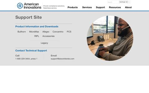 Screenshot of Support Page aiworldwide.com - American Innovations Support Site - captured July 13, 2019