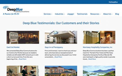 Screenshot of Testimonials Page deepbluecommunications.com - WiFi Customer Testimonials | Deep Blue Communications - captured Oct. 29, 2014