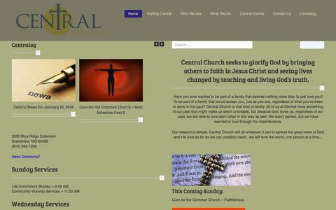 Screenshot of Home Page centralfwb.org - | Central Church seeks to glorify God by bringing others to faith in Jesus Christ and seeing lives changed by teaching and living God's truth. - captured Jan. 26, 2016