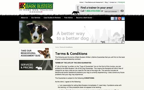 Screenshot of Terms Page barkbusters.ca - Dog Training Lifetime Guarantee Terms & Conditions | Dog Trainers - captured Oct. 5, 2014