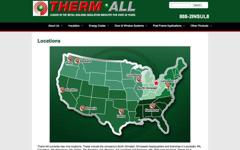 Screenshot of Locations Page therm-all.com - Therm-All Locations - captured Oct. 7, 2014