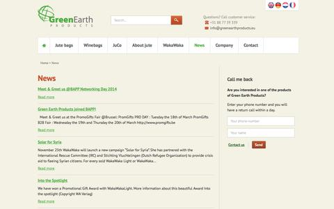 Screenshot of Press Page greenearthproducts.eu - News - Green Earth Products - captured Sept. 30, 2014