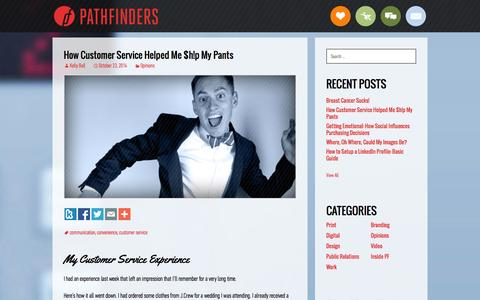 Screenshot of Support Page pathfind.com - How Customer Service Helped Me $h!p My Pants - Pathfinders Advertising - captured Nov. 1, 2014