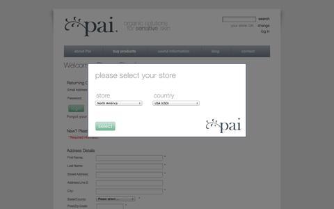Screenshot of Login Page paiskincare.com - Login : Pai Skincare, Organic Solutions for Sensitive Skin - captured Sept. 23, 2014