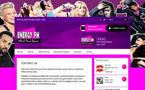 Screenshot of Contact Page dancemusicradio.net - Contact Us | Energy FM Tenerife - captured Oct. 29, 2018