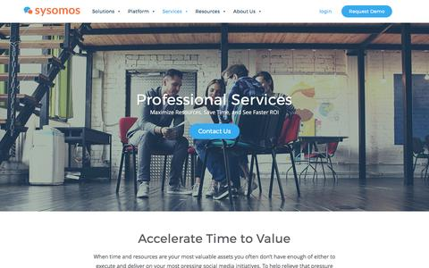 Screenshot of Services Page sysomos.com - Professional Client Services | Sysomos - captured May 9, 2017