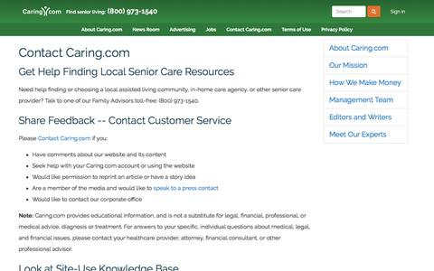 Screenshot of Contact Page caring.com - Senior Care: Housing, Home Care, Community, Articles - captured July 3, 2016