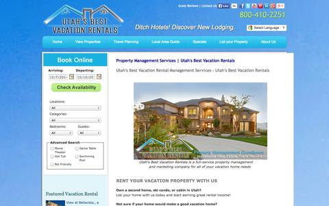 Screenshot of About Page utahsbestvacationrentals.com - Property Management Services - Utah's Best Vacation Rentals - captured Oct. 7, 2014