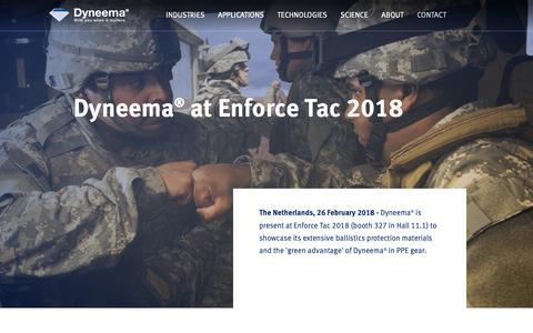 Screenshot of Press Page dsm.com - Dyneema® at Enforce Tac 2018 - captured Jan. 1, 2019