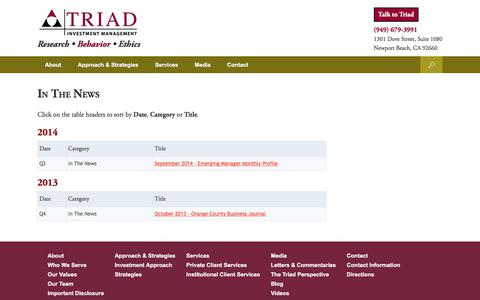 Screenshot of Press Page triadinvestmentmanagement.com - In The News - Triad Investment Management - captured Nov. 9, 2017