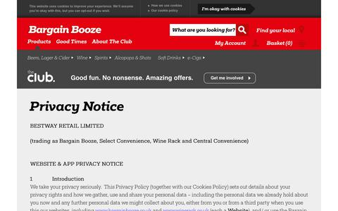 Screenshot of Privacy Page bargainbooze.co.uk - Privacy Notice - captured Sept. 24, 2018