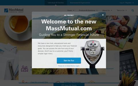 Screenshot of Home Page massmutual.com - Individuals & Families | MassMutual - MassMutual - captured Jan. 25, 2015