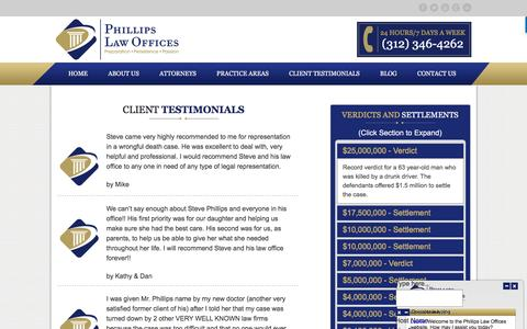 Screenshot of Testimonials Page phillipslawoffices.com - Testimonials - - captured July 13, 2016