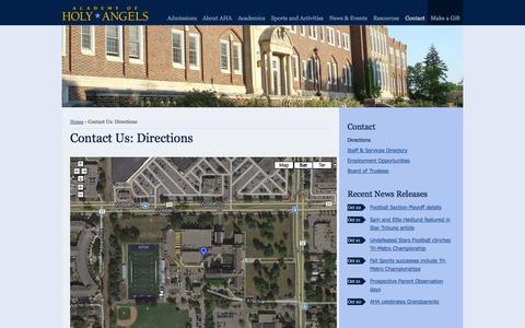 Screenshot of Contact Page Maps & Directions Page academyofholyangels.org - Contact the Academy of Holy Angels: 612-798-2600 | Academy of Holy Angels - captured Oct. 23, 2014