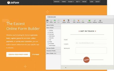 Screenshot of Home Page jotform.com - Online Form Builder · JotForm - captured May 5, 2016