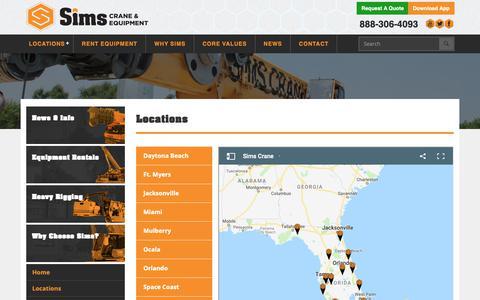 Screenshot of Locations Page simscrane.com - 13 Locations Across the State of Florida - Sims Crane & Equipment - captured Nov. 16, 2018