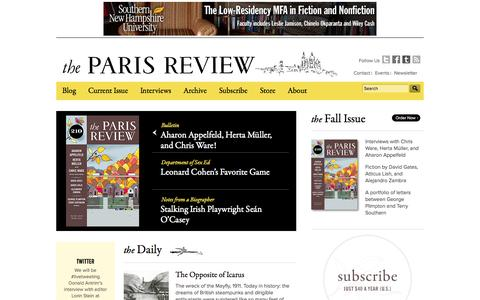 Screenshot of Home Page theparisreview.org - Paris Review – Writers, Quotes, Biography, Interviews, Artists - captured Sept. 25, 2014