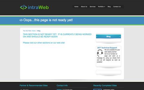 Screenshot of Blog intraweb.azurewebsites.net - intraWeb - Web Design - eBusiness - Small Business Commerce - Cloud Network - Hosting Services - SEO - captured Oct. 6, 2014