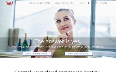 Screenshot of Home Page hotwaxsystems.com - HotWax Commerce - A Digital Commerce Platform - HotWax Systems - captured March 1, 2016