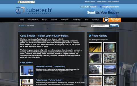 Screenshot of Case Studies Page tubetech.com - Tube Tech International Ltd, Case Studies, Photos - captured Oct. 10, 2014