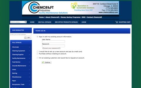 Screenshot of Login Page chemcraftind.com - Catalog Login - captured Nov. 5, 2016