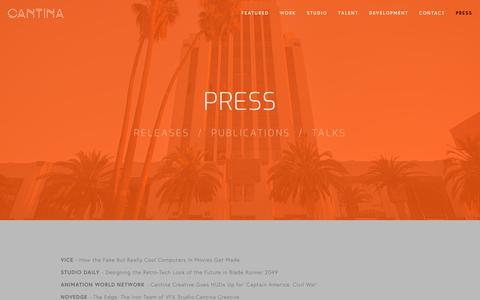 Screenshot of Press Page cantinacreative.com - Press — Cantina - captured Nov. 4, 2018