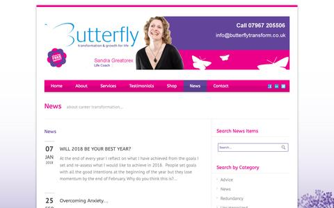 Screenshot of Press Page butterflytransform.co.uk - Butterfly Transform Career advice news - captured Oct. 7, 2018