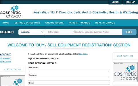 """Screenshot of Signup Page cosmeticchoice.com.au - Welcome to """"Buy / Sell equipment registration"""" section - captured July 22, 2018"""