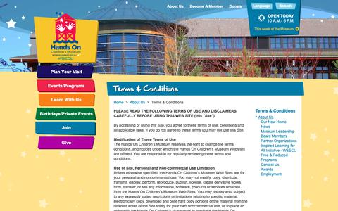 Screenshot of Terms Page hocm.org - Terms & Conditions > Hands On Children's Museum of Olympia - captured Sept. 27, 2018