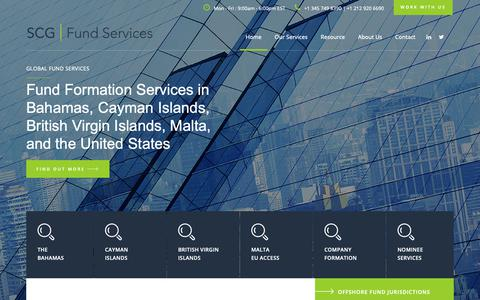 Screenshot of Home Page scgfundservices.com - FUND SERVICES FOR OFFSHORE FUNDS AND HEDGE FUNDS - captured Oct. 1, 2018
