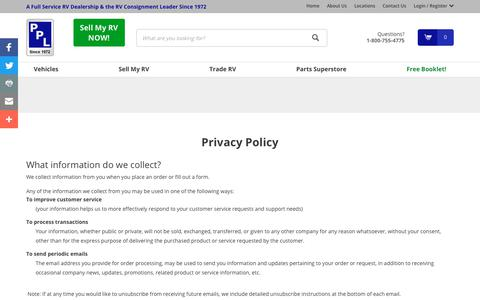 Screenshot of Privacy Page pplmotorhomes.com - Privacy Policy-We don't sell your info | PPL Motor Homes - captured Sept. 28, 2018