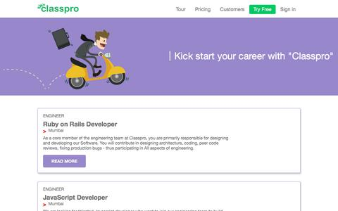 Screenshot of Jobs Page classpro.in - Careers | Work with Us! - Classpro - captured July 18, 2018