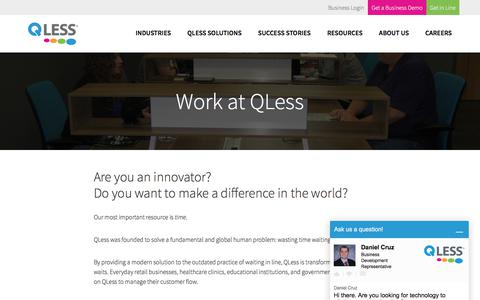 Screenshot of Jobs Page qless.com - Careers - Support Engineer at QLess - captured Jan. 16, 2018
