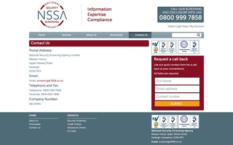 Screenshot of Contact Page 7858.co.uk - National Security Screening Agency   NSSA   Contact Us - captured Oct. 27, 2017