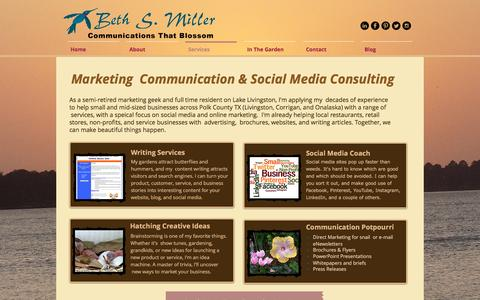 Screenshot of Services Page bethsmiller.com - Marketing Communication |Beth S Miller| Social Media Consulting - captured Nov. 22, 2016
