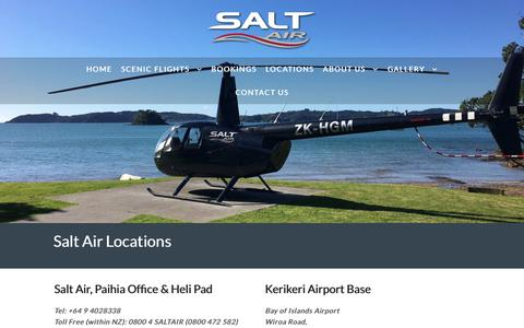 Screenshot of Locations Page saltair.co.nz - Salt Air Location Maps in Paihia and Kerikeri Airport, Bay of Islands - captured Nov. 6, 2018