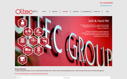 Screenshot of Services Page oltecgroup.com - Facility Management Services | Corporate FM Services | Oltec - captured Oct. 23, 2018