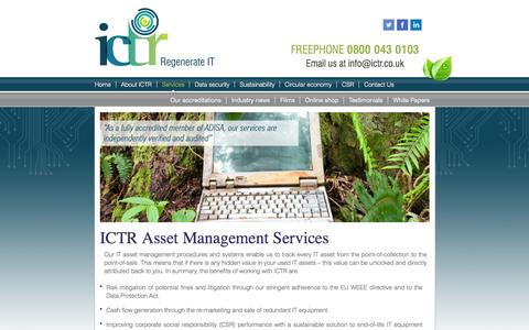 Screenshot of Services Page ictr.co.uk - IT Disposal Services - captured Oct. 3, 2014