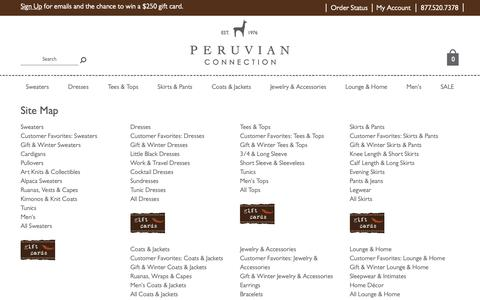 Screenshot of Site Map Page peruvianconnection.com - Women's Luxury Alpaca & Peruvian Pima Clothing | Peruvian Connection - captured Dec. 7, 2018