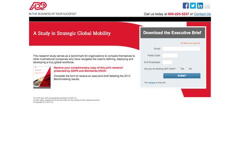 Screenshot of Landing Page adp.com - A Study in Strategic Global Mobility - captured Aug. 18, 2016