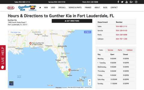 Screenshot of Hours Page guntherkia.com - Hours & Directions | Car Dealership Fort Lauderdale, FL | Gunther Kia - captured July 25, 2018