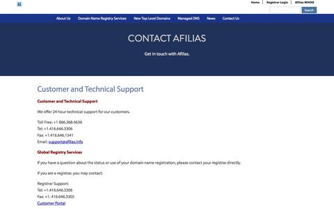 Screenshot of Support Page afilias.info - Customer and Technical Support | Afilias - captured Sept. 23, 2014