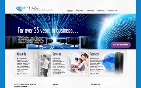 Screenshot of Home Page ptccinc.com - Piedmont Triad| Storage Management | Mid Range IT - captured Oct. 1, 2014