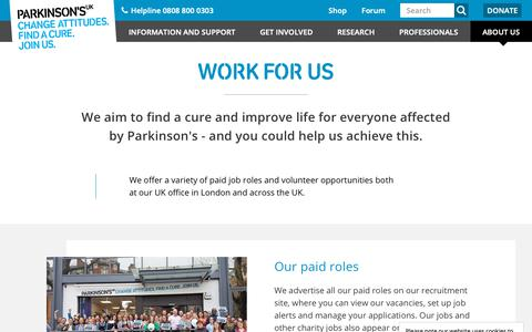 Screenshot of Jobs Page parkinsons.org.uk - Work for us | Parkinson's UK - captured Feb. 16, 2019