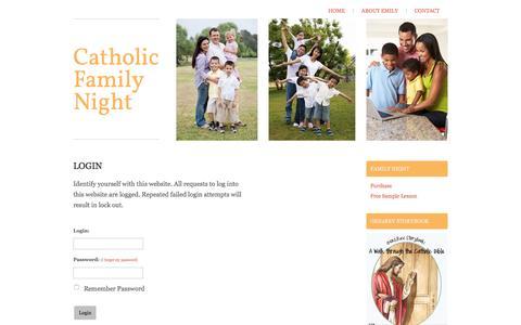 Screenshot of Login Page catholicfamilynight.com - Catholic Family Night - Login - captured Dec. 7, 2015