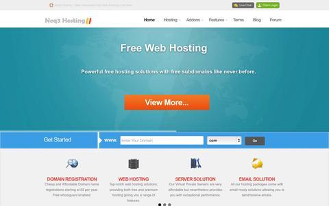 Screenshot of Home Page neq3hosting.com - Free Hosting | Free Subdomain, cPanel, MySQL, No Ads, PHP - captured Sept. 22, 2014