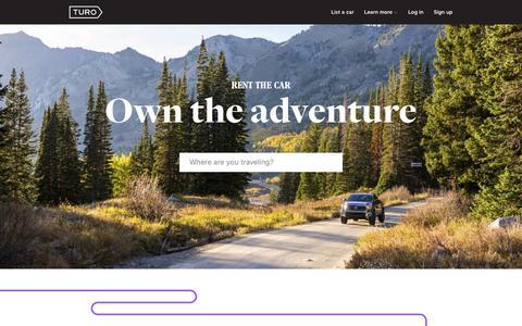 Screenshot of Home Page turo.com - Find a rental car or make money renting your car � Turo - captured Dec. 16, 2015