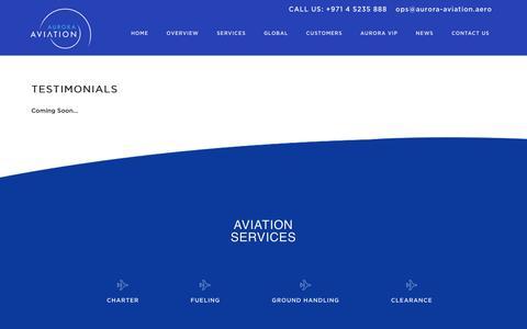Screenshot of Testimonials Page aurora-aviation.aero - Aurora Aviation | Testimonials - captured Oct. 9, 2017
