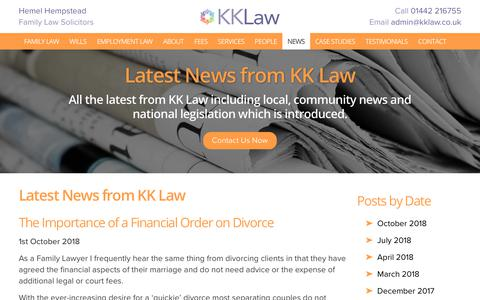 Screenshot of Press Page kklaw.co.uk - Latest News - Solicitors in Hemel Hempstead, Lawyers in Hemel Hempstead | KK Law - captured Oct. 14, 2018